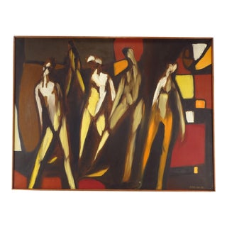 """Arnold Weber """"5 Figures"""" Oil on Canvas Painting"""