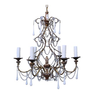 Six-Light White Opaline Chandelier, Circa 1900