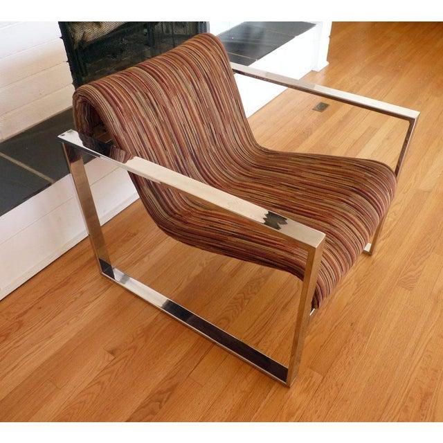 Milo Baughman MCM Chrome Lounge Chair - Image 7 of 9