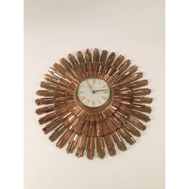 Mid-Century Syroco Sunburst Wall Clock - Image 5 of 11