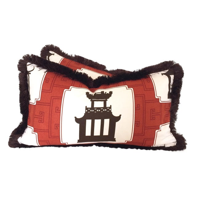 Fringed Folly Pillows - A Pair - Image 1 of 5