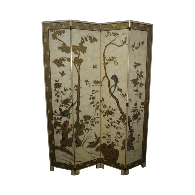 Vintage Chinoiserie Painted Folding Screen - Image 1 of 10