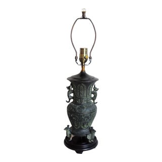 Chinese Archaic Style Bronze Vase Lamp