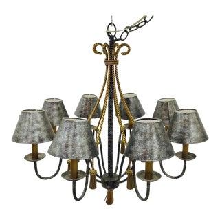 Regency Style Gold Metal Rope & Tassel Chandelier