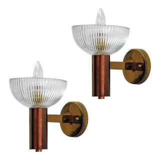 Italian Stilnovo Brass and Glass Wall Lights - a Pair
