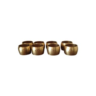 Hammered Brass Napkin Rings - Set of 8
