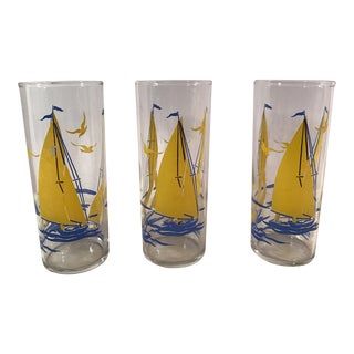 Mid-Century Blue & Yellow Sailing Glasses - Set of 3