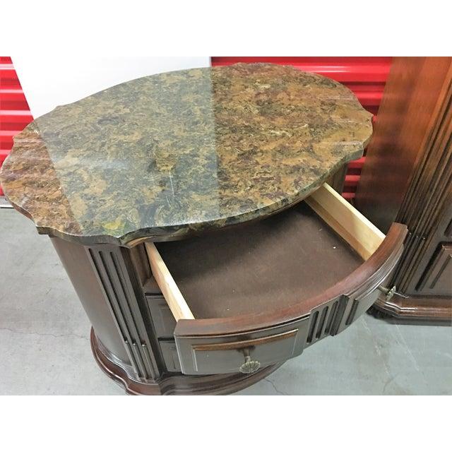 Solid Dark Wood Marble-Top Nightstands - A Pair - Image 4 of 8