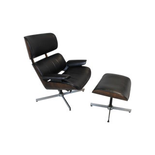 George Mulhauser Leather Lounge Chair & Ottoman