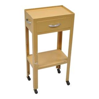 Vintage Yellow Steel Industrial Modern Dental Medical Cart Side Table