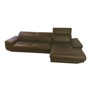 Natuzzi Espresso Leather Sofa With Chaise