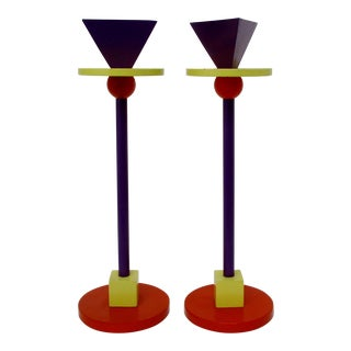 Memphis Metal Candlesticks, a Pair