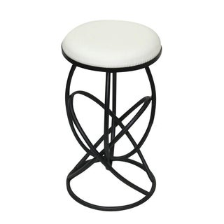 Round White Leather & Metal Stool