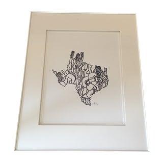 Framed & Signed Texas Letterpress Print