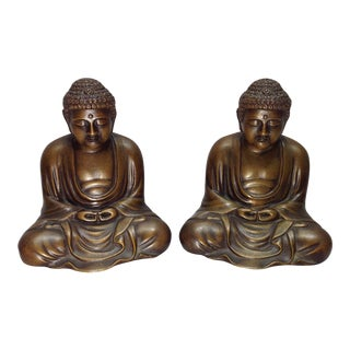 Vintage Bronze Buddha Om Bookends - A Pair
