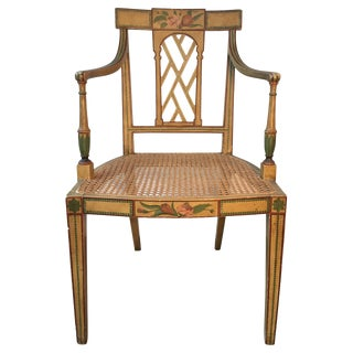 19th Century English Floral Painted Armchair