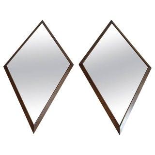 Large Pair of Mid-Century Diamond Shape Mirrors