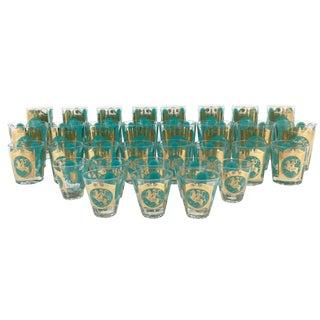 Ned Harris Turquoise & Gold Glassware - Set of 32