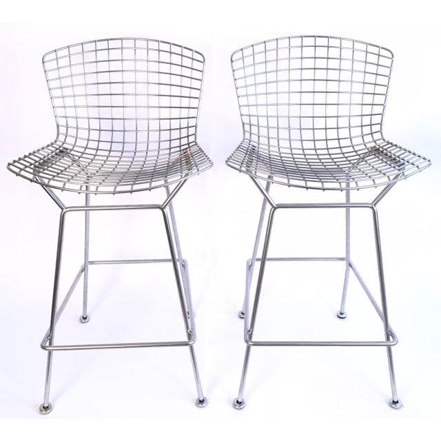 Harry Bertoia Knoll Signed Chrome Bar Counter Stools - a Pair - Image 2 of 7