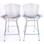 Image of Harry Bertoia Knoll Signed Chrome Bar Counter Stools - a Pair