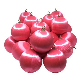 Vintage Pink Satin Silk String Ornaments Set Of 24