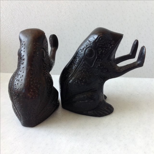 Antique painted brass frog bookends a pair chairish - Antique brass bookends ...