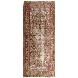 "Distressed Antique Persian Malayer Rug - 3'6"" X 9'9"""