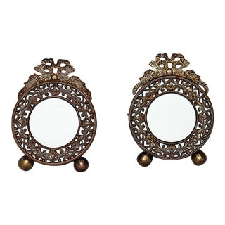 Miniature Gilt Bronze French Frames - a Pair