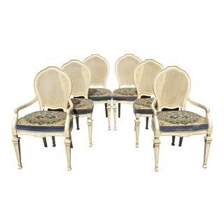 Vintage Drexel French Style Cane & Velvet Dining Chairs- Set of 6