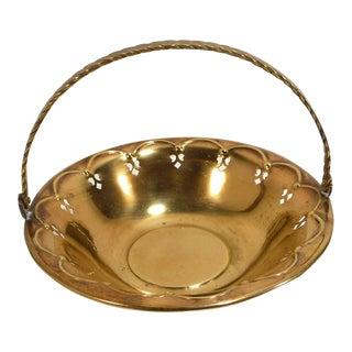 Vintage Solid Brass Basket Bowl