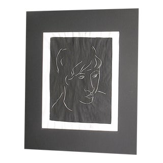 "Vintage Signed Linocut Female Portrait - ""Diane"""