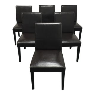 Crate & Barrel Brown Leather Pullman Dining Chairs - Set of 6