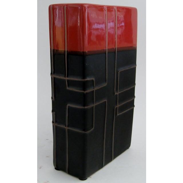 Image of Rectangular Geometric Ceramic Vase