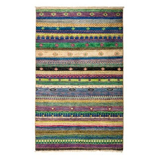 "Striped Hand-Knotted Rug - 3'3"" X 5'2"""