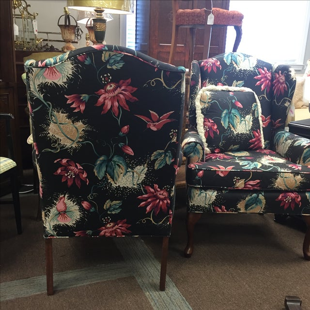 Image of Passion Flower Wing Chairs- A Pair