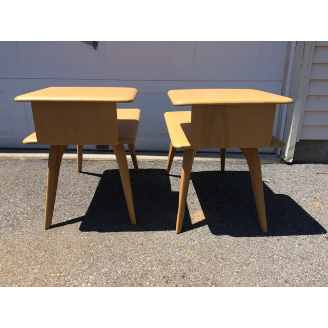 Heywood Wakefield Wheat Finished End Tables- A Pair - Image 8 of 8