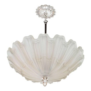 Exquisite Art Deco Frosted Glass and Nickel Chandelier in the Manner of Lalique