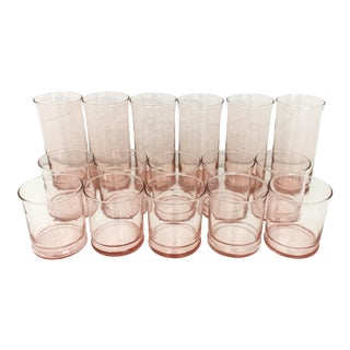 Vintage Blush Drink Glasses - Set of 16