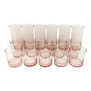 Vintage Blush Drink Glasses - Set of 16