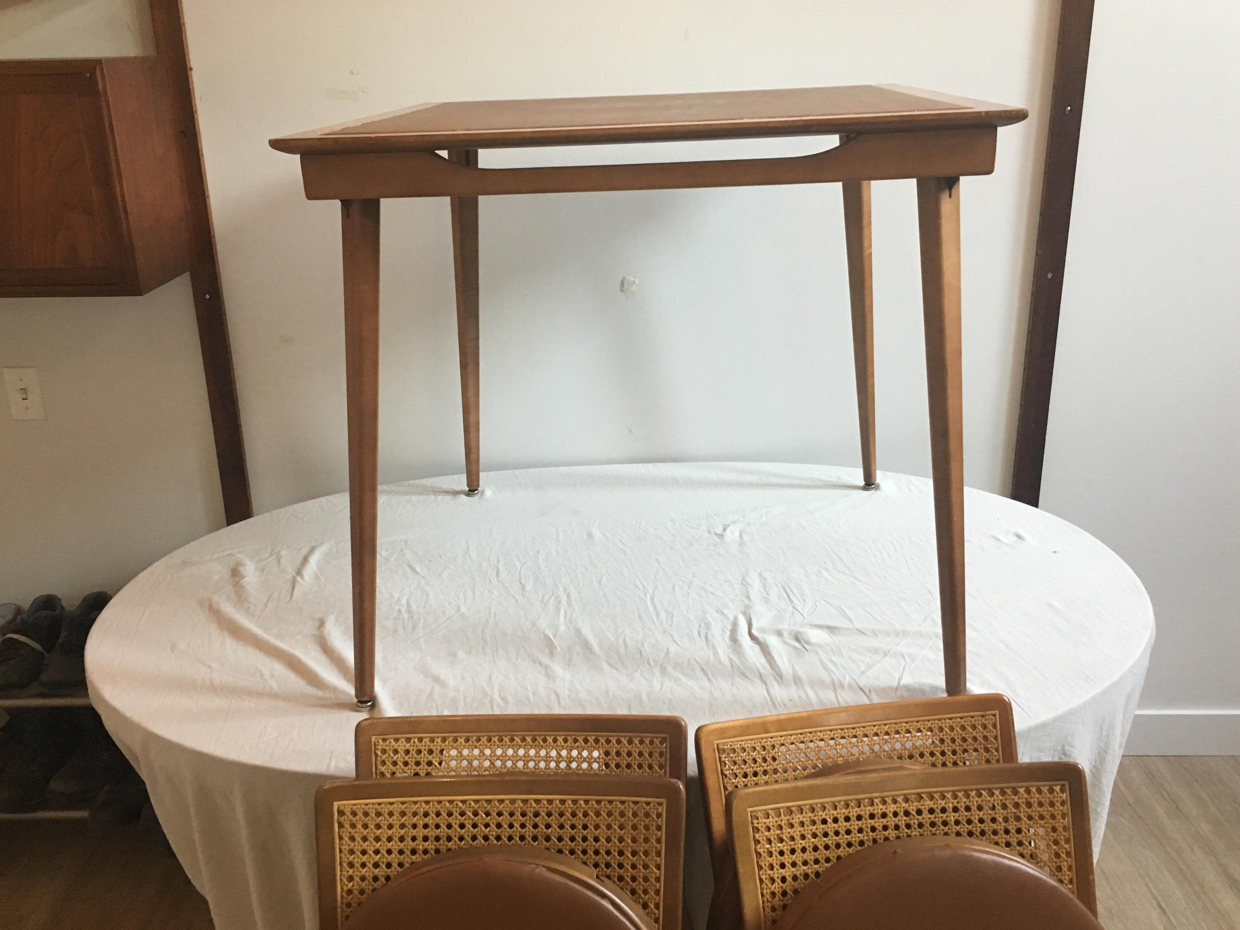 mid century folding wooden table 4 chairs chairish