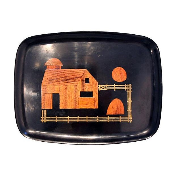 Black Couroc Brass & Wood Inlay Tray - Image 1 of 4