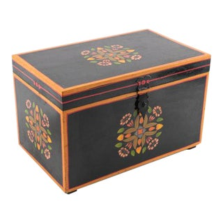 Vintage Hand-Painted Wooden Box With Floral Motif