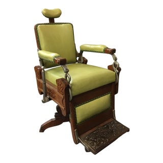 Antique Koken Oak & Green Leather Barber Chair