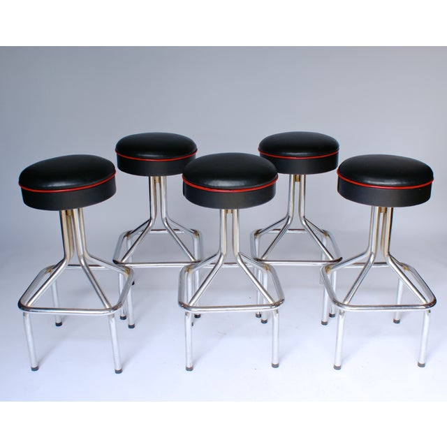 Tubular Steel Bar Stools - Set of 5 - Image 2 of 6