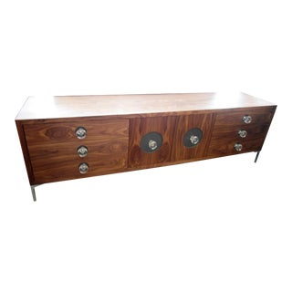 Mid-Century Modern Credenza With Clear Knobs & Chrome Legs