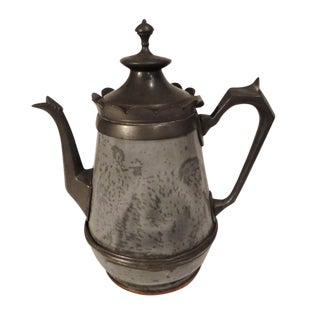 Early 19th Century Pewter and Granite Coffee Pot, Dated 1818