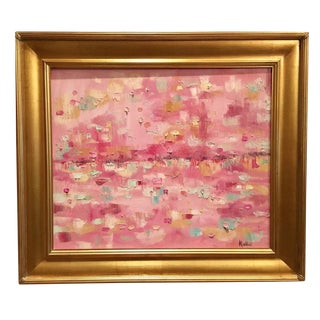 """Abstract Impasto of Pink Reflections"" Original Oil Painting"