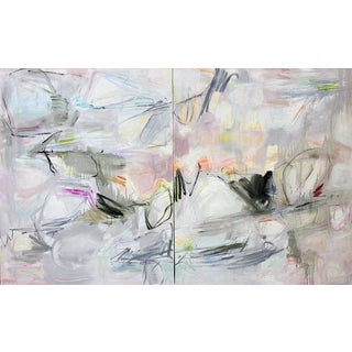 "Oversized Abstract Diptych by Trixie Pitts ""Colorado Calling"""