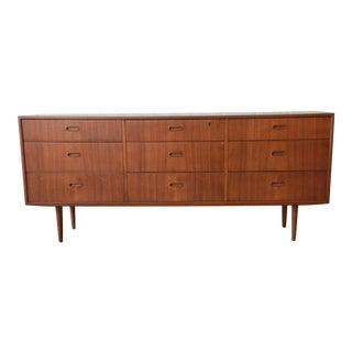 Arne Vodder for Falster Danish Modern Nine-Drawer Teak Long Dresser or Credenza