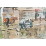 "Image of Impressionist Painting ""London Cyclist in Rain"""